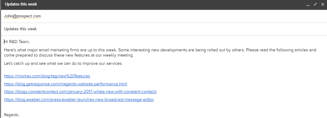 Example of how to send plain gmail newsletters to r&d department.