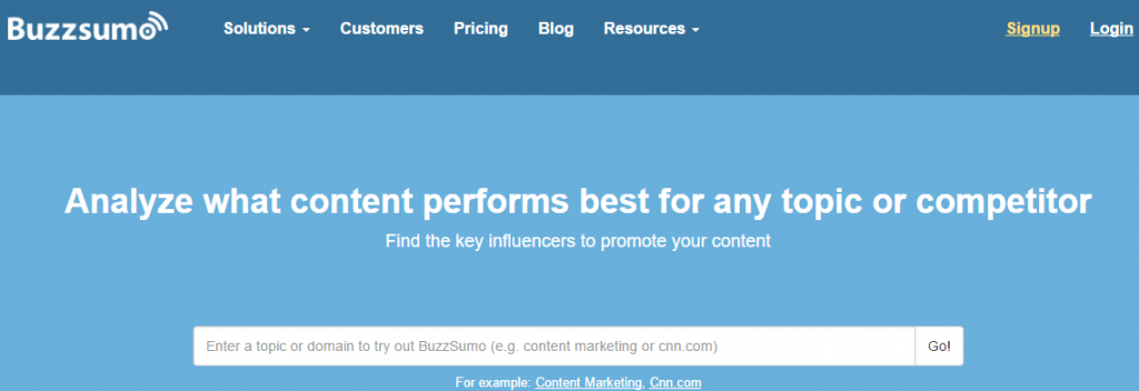Buzzsumo for social media analytics