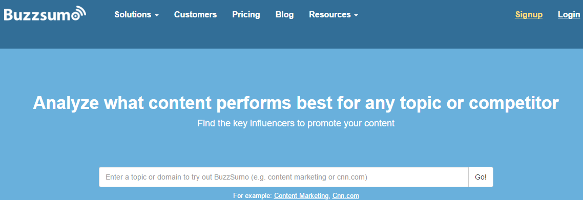 Analyse your content with Buzzsumo