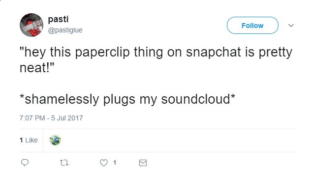 Sharing music video screenshot of snapchat paperclip