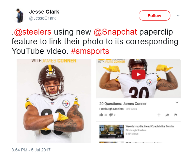 Sharing links to videos on snapchat paperclip