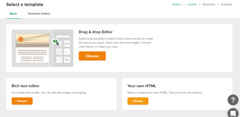 "Choose ""your own Html"" in select template option screenshot"