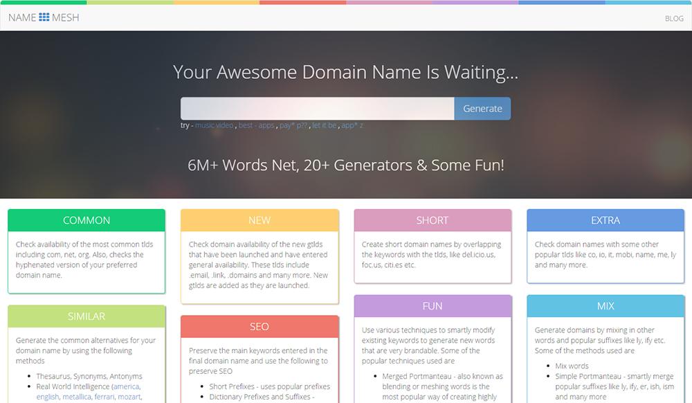 Name mesh : Blog name generator