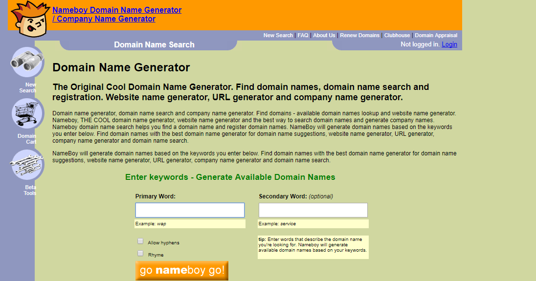 Nameboy: Blog name generator