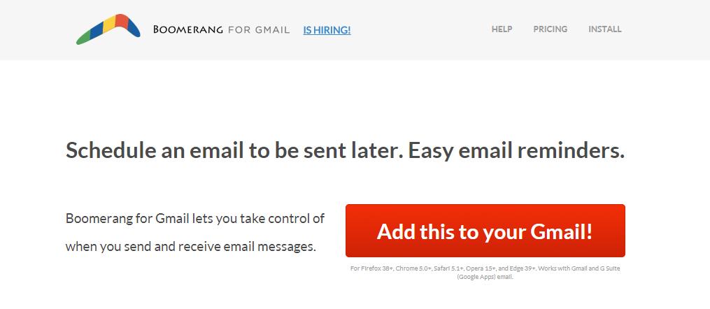 Boomerang : A gmail plugin