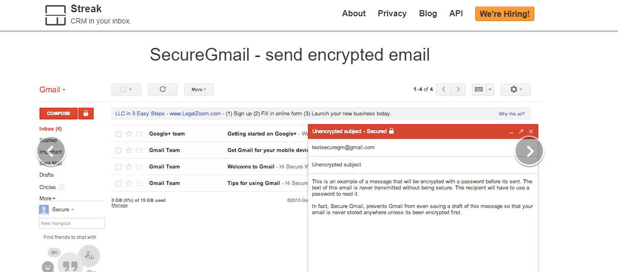 SecureGmail : A gmail plugin