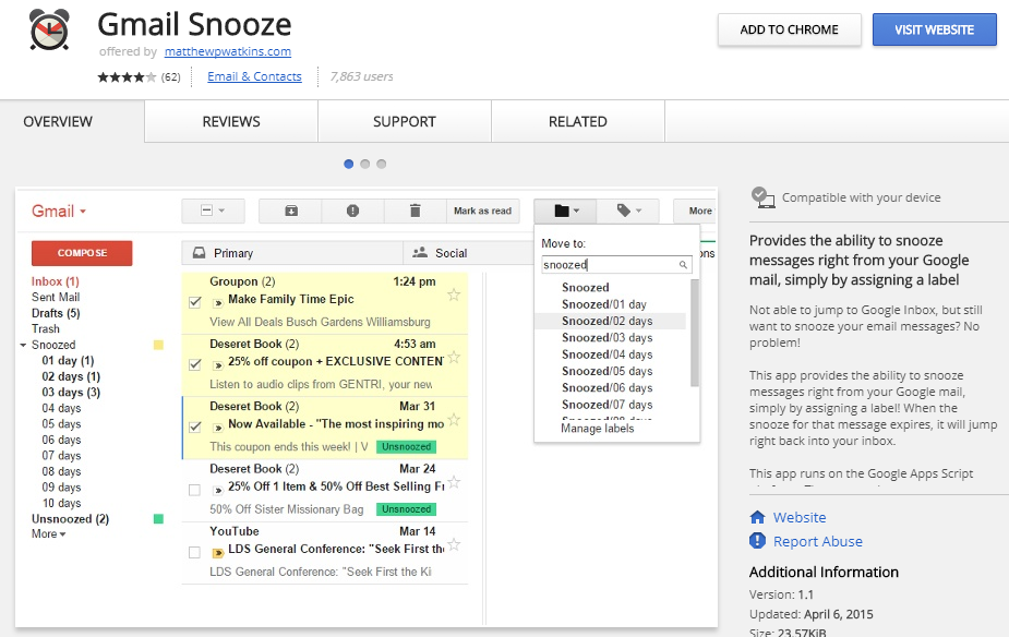 Gmail Snooze : A gmail Plugin