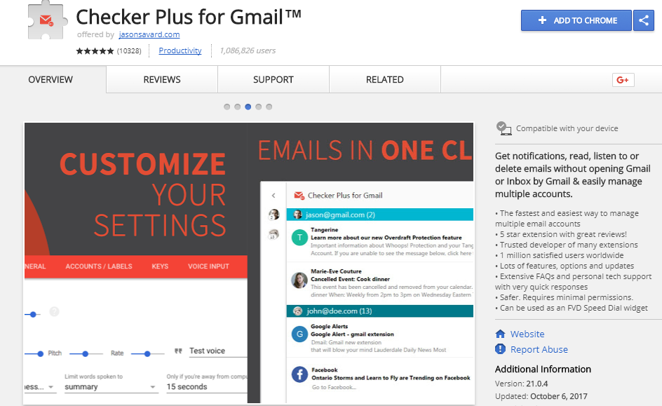 Checker plus for gmail : A  gmail plugin