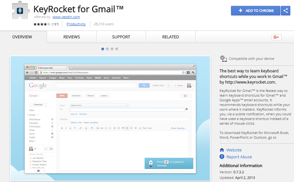 Key rocket : A gmail plugin