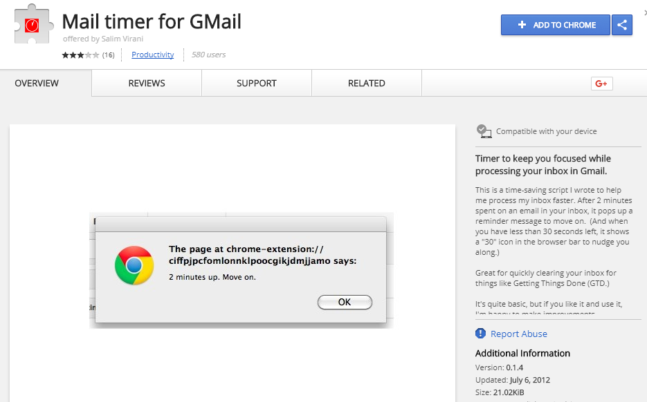 Mail Timer for gmail : A gmail plugin