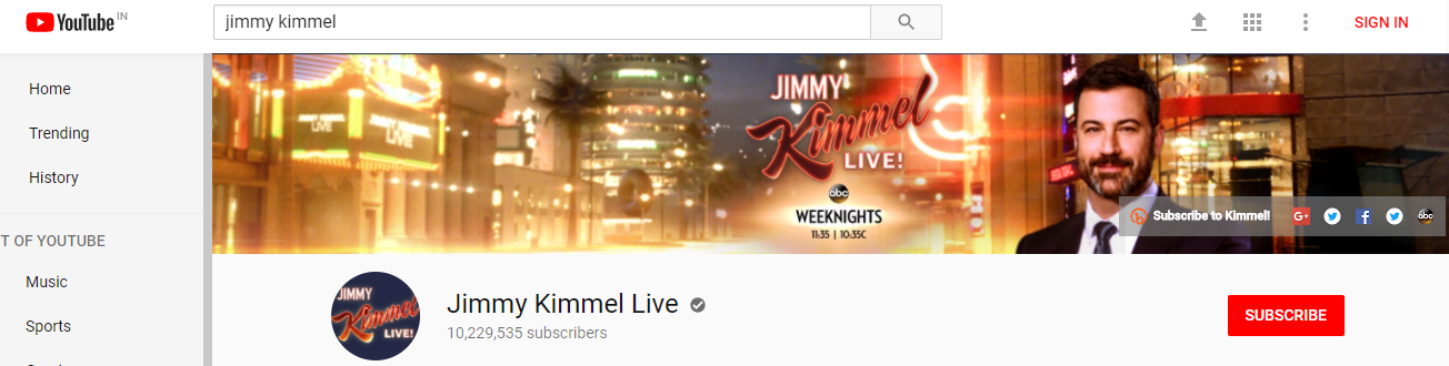 Jimmy kimmel's Youtube banner and channel art