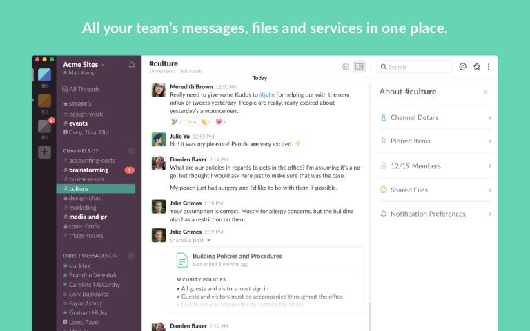 Slack tool for team collaboration