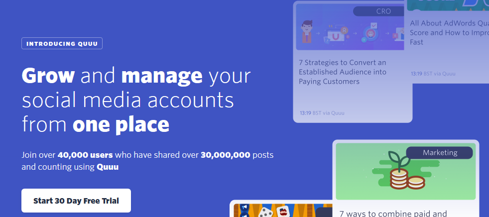 Manage your social media accounts from one place with Quuu