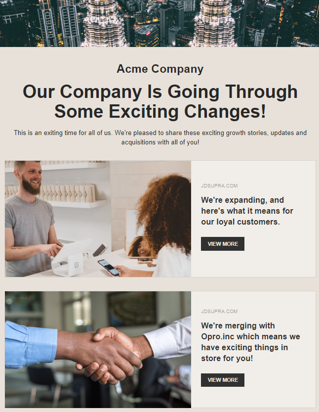 Providing updates on changes happening in company by newsletters