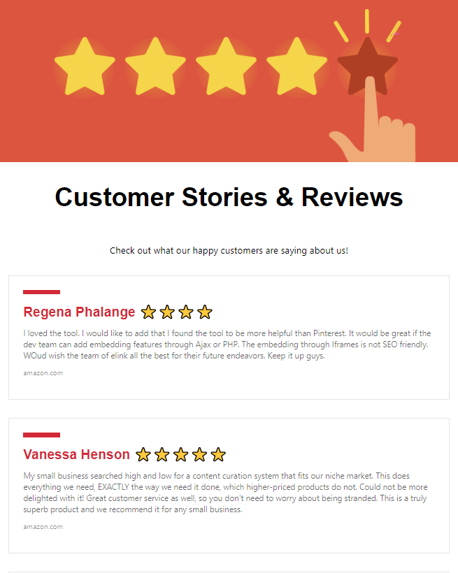 Sharing customer reviews and stories by company newsletter idea
