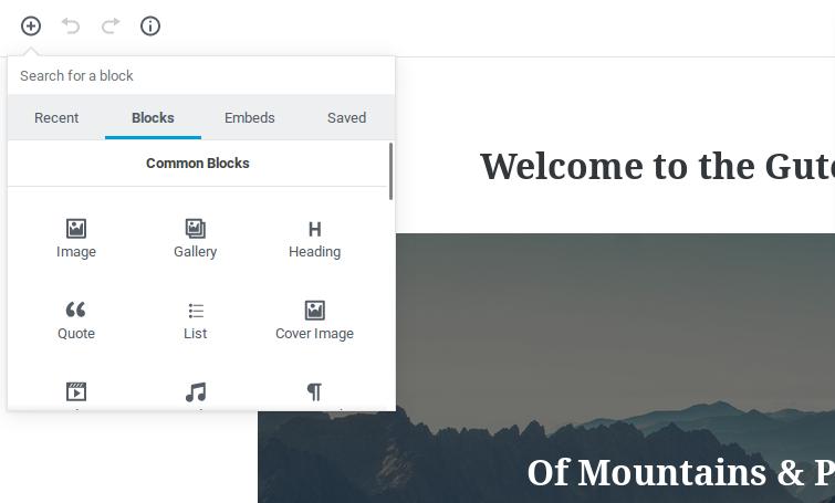 Preview for adding new blocks in WordPress Gutenberg editor