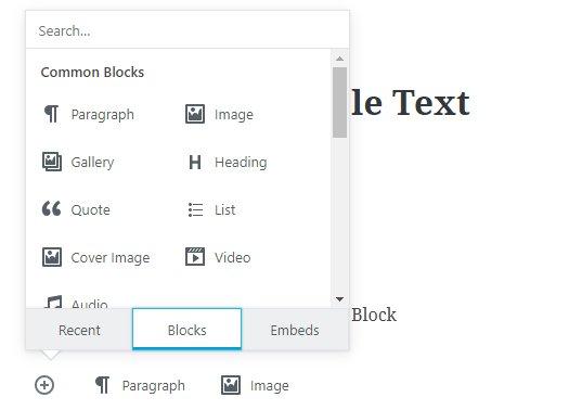 Gutenberg, WordPress's new editor's block screenshot