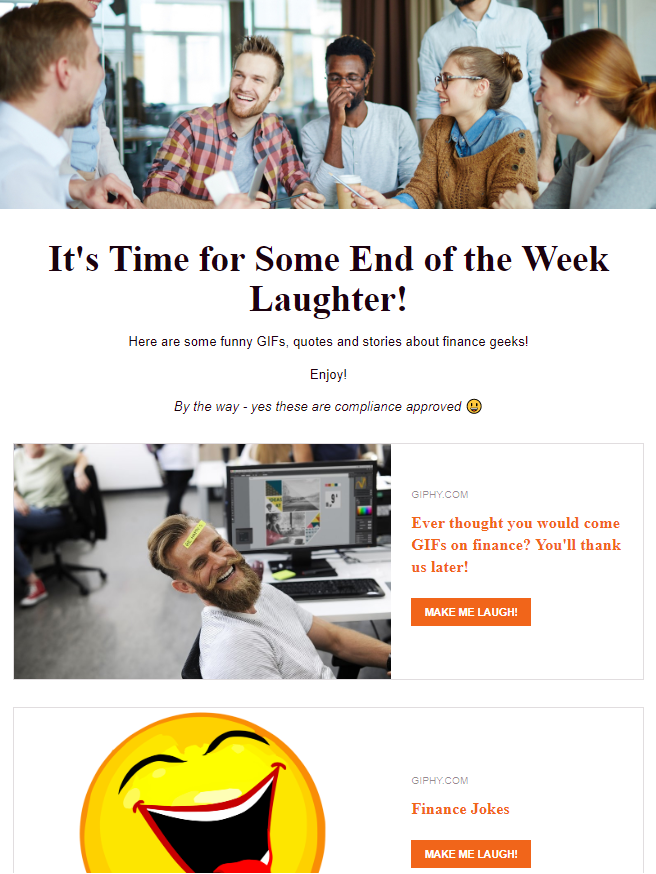 Sharing jokes by company newsletter