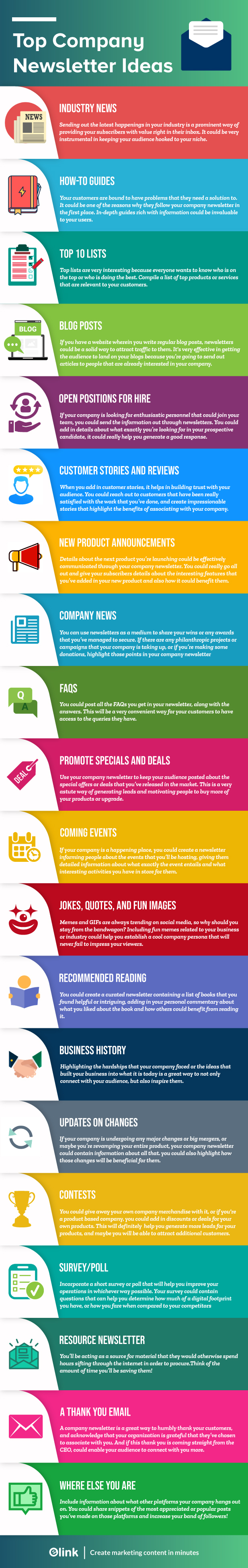 Company newsletter ideas infographic