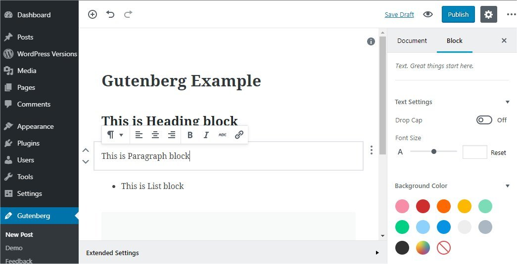 WordPress Gutenberg block preview