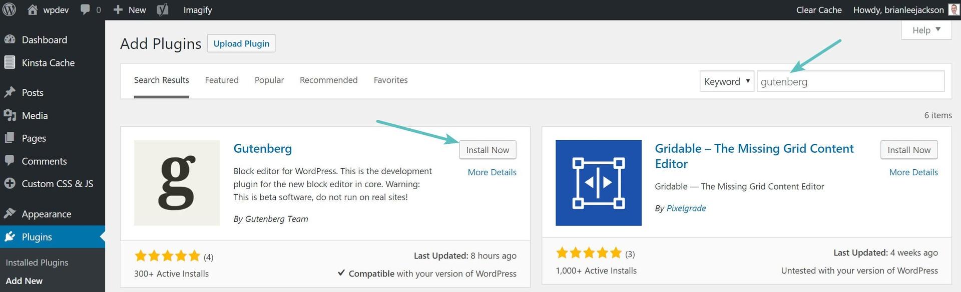 WordPress Gutenberg installation page preview