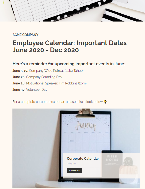 Sharing important dates via employee newsletter
