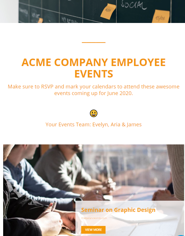 Employee newsletter idea for events