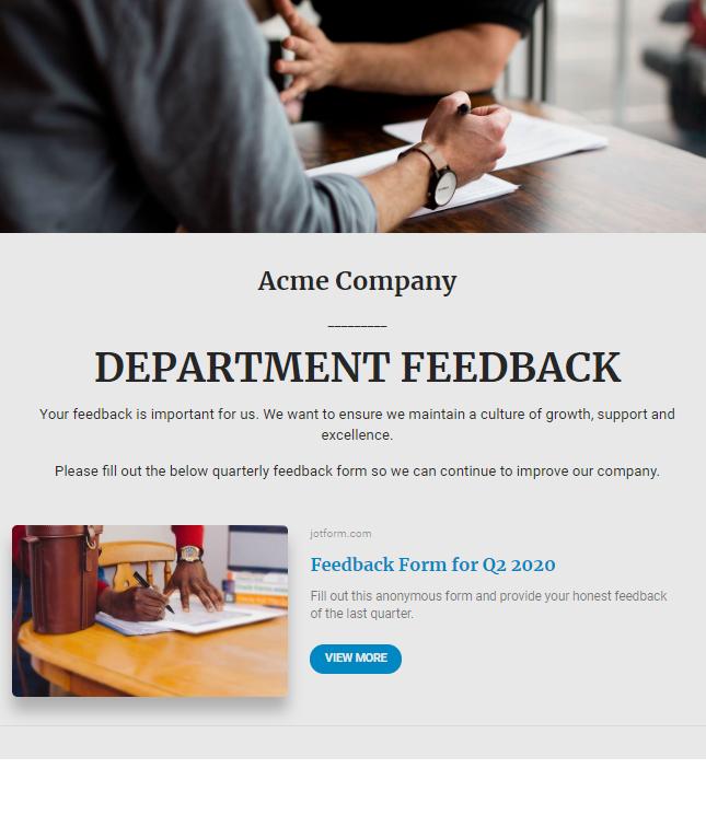 Employee feedback newsletter example