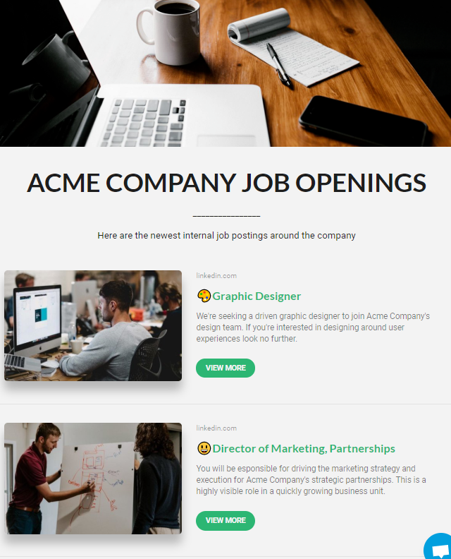 Idea of creating newsletter for employee job openings