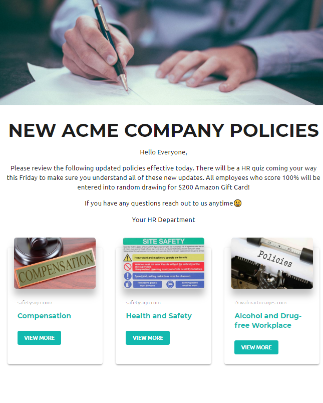 Company policies updation newsletter example