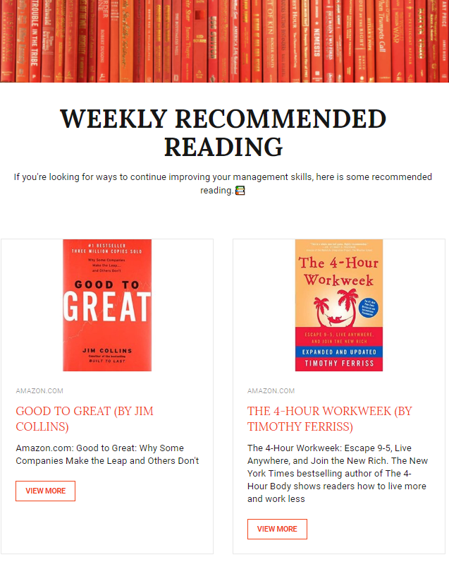Recommended readings through employee newsletter example