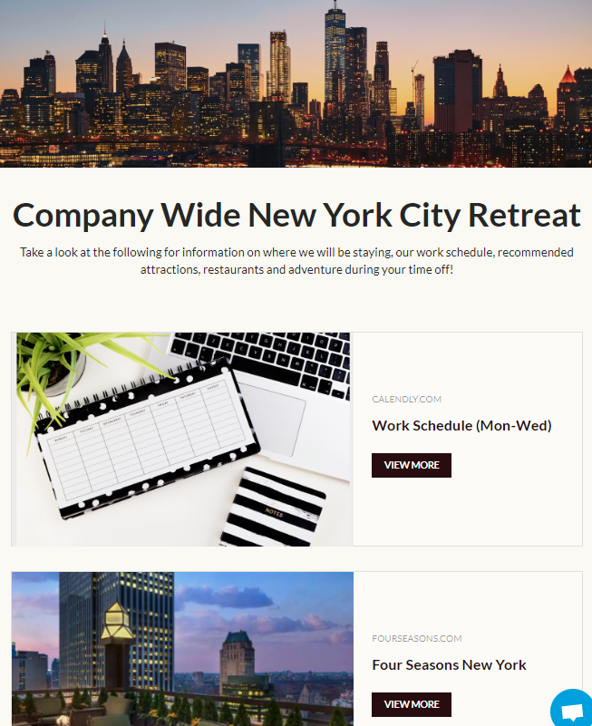 Sharing company retreats through employee newsletter