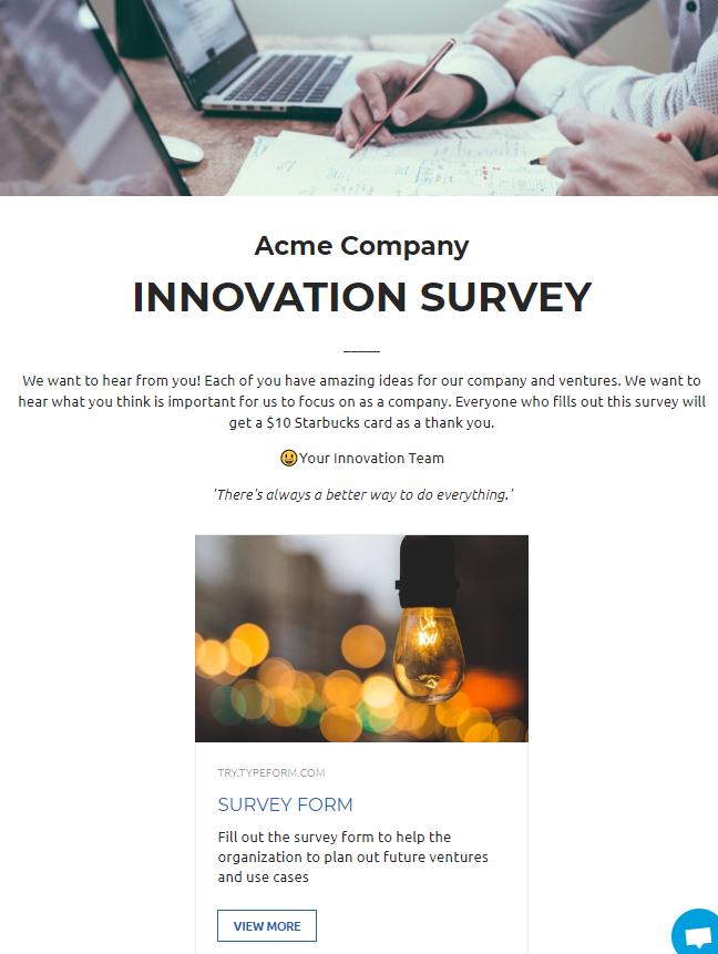 Employee survey newsletter idea/example
