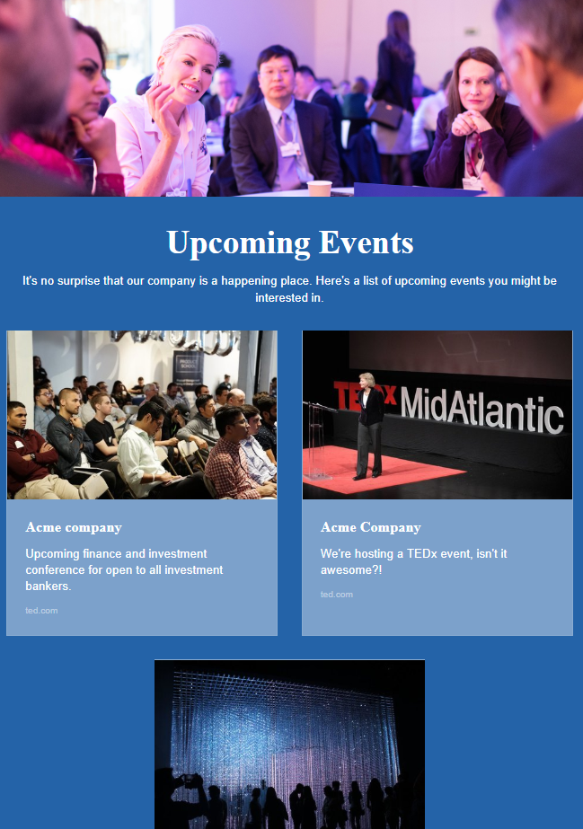 Idea of informing about upcoming events by company newsletter