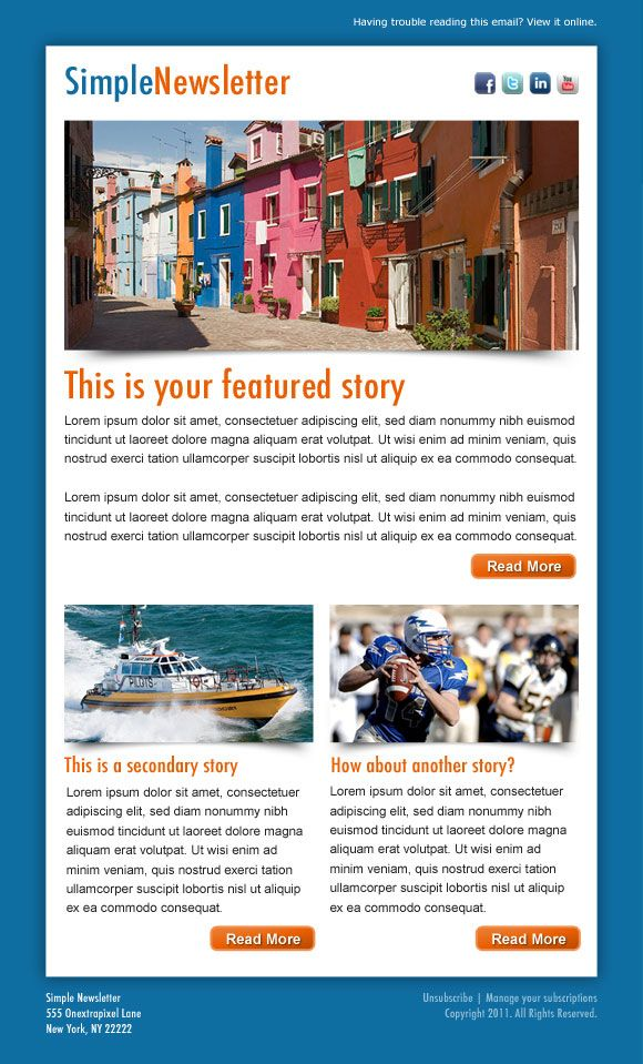HTML newsletter example designed in adobe photoshop