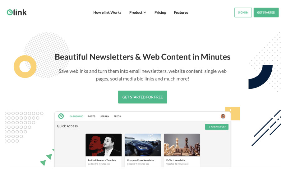 elink.io for content curation and email newsletters