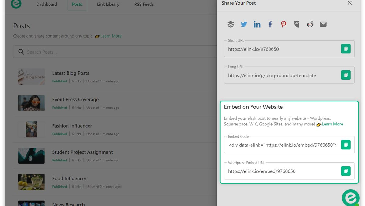 Copy and paste the elink in your WordPress post
