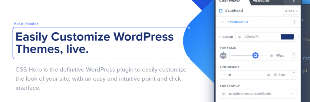 CSS hero for customisation of WordPress themes.