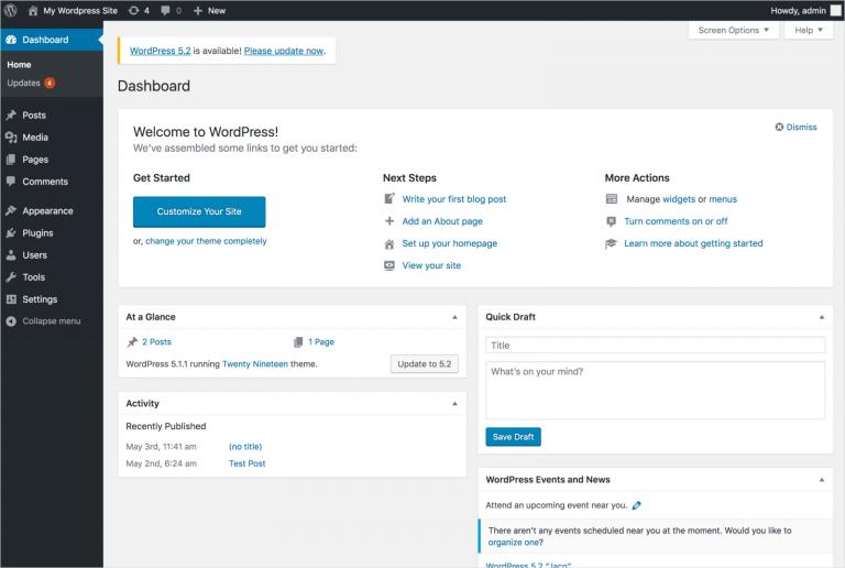 WordPress admin dashboard preview