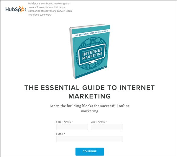 Online guide used as a lead magnet by Hubspot