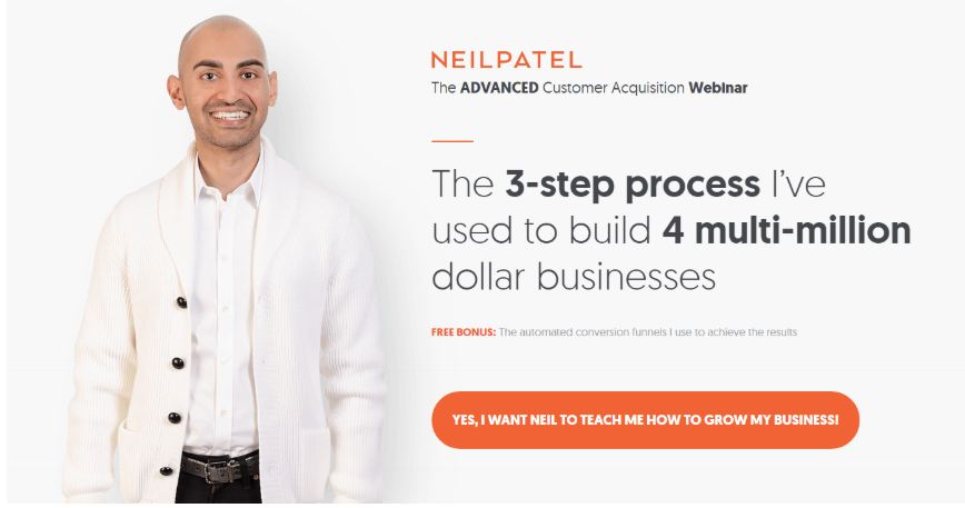 Online webinar by neil patel used as a lead magnet