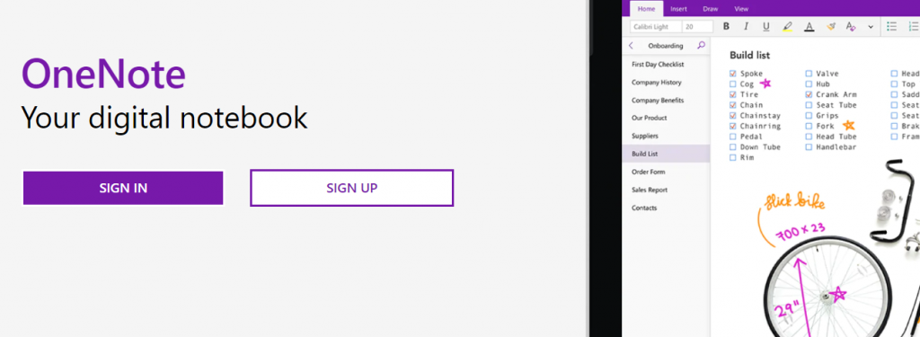 Microsoft onenote for taking notes