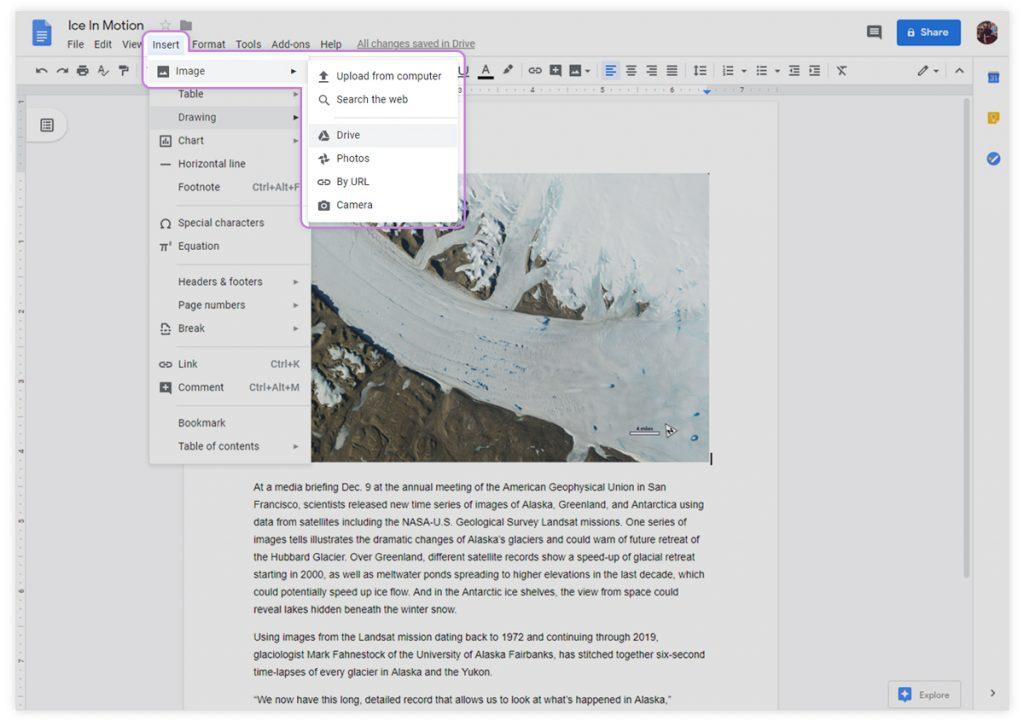 Google docs insert image tab