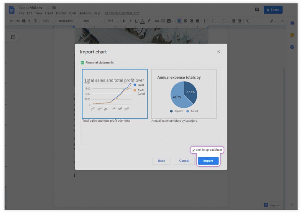Google docs import charts tab