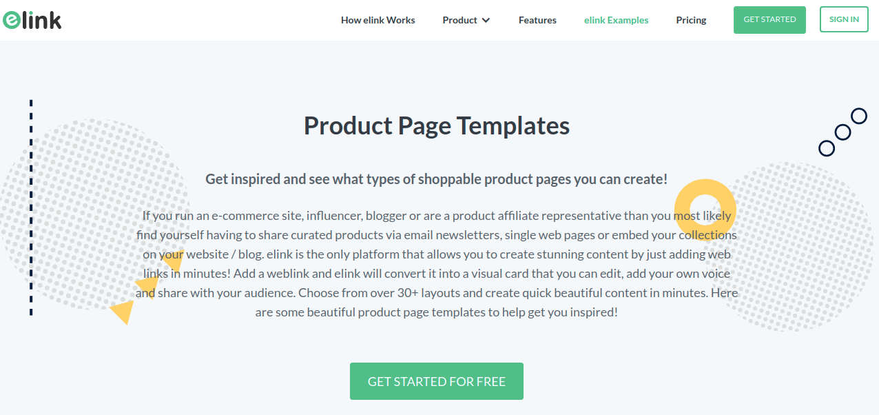Elink's Product page templates