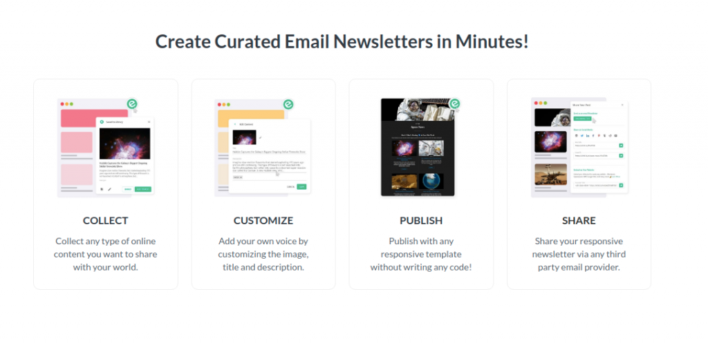 Steps to create email newsletter in elink.io