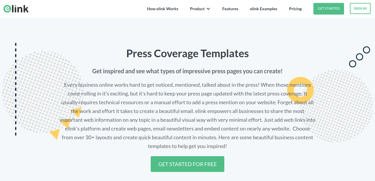 Elink's press coverage templates page