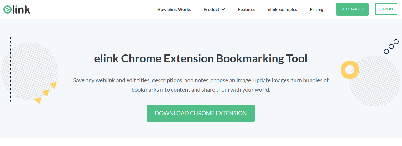 Elink's chrome extension bookmarking tool