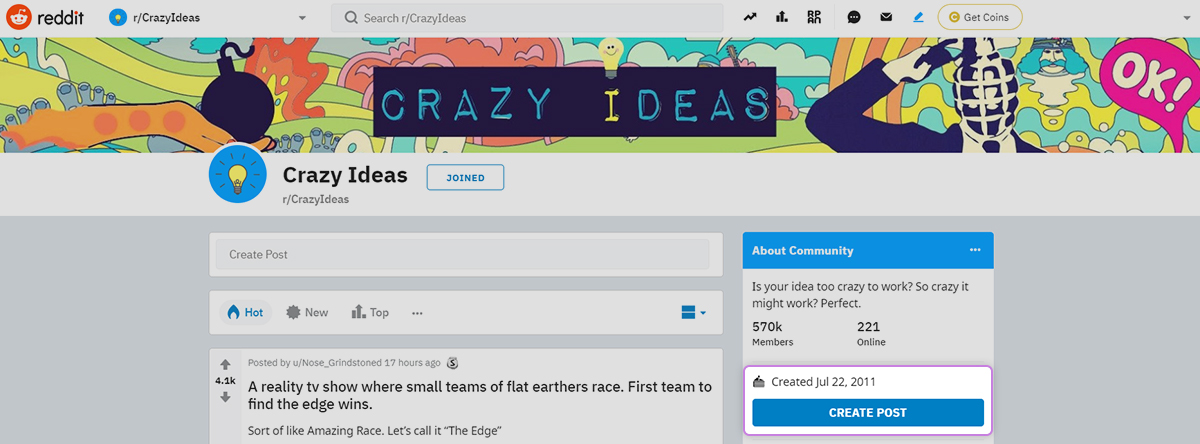 Reddit community dashboard display for creating a post