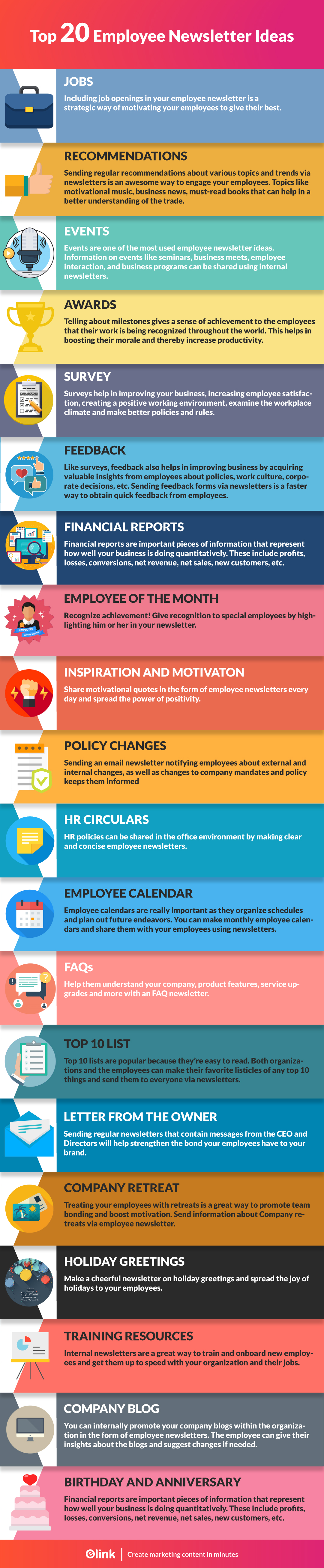 Employee newsletter ideas infographic